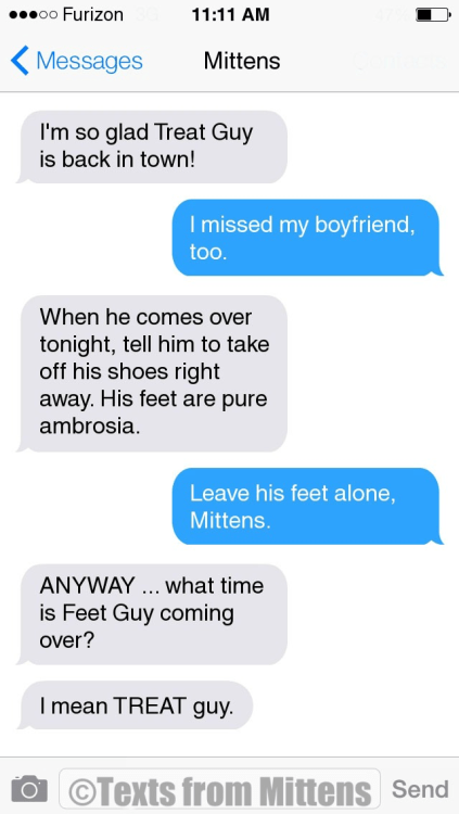 Text - 11:11 AM o0 Furizon Messages Mittens I'm so glad Treat Guy is back in town! I missed my boyfriend, too. When he comes over tonight, tell him to take off his shoes right away. His feet are pure ambrosia Leave his feet alone, Mittens. ANYWAY.. what time is Feet Guy coming over? Imean TREAT guy. OTexts from Mittens Send