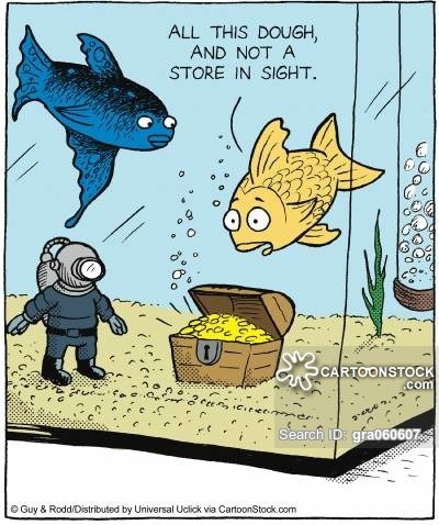 Cartoon - ALL THIS DOUGH AND NOT A STORE IN SIGHT CARTOONSTOCK .com 2eee ceee men Search ID: grao60607 e Guy & Rodd/Distributed by Universal Uclick via CarfoonStock.com