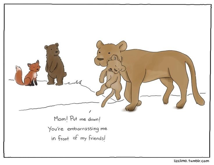 Funny cartoon of lioness carrying lion cub and he is embarrassed because it is in front of all his friends.