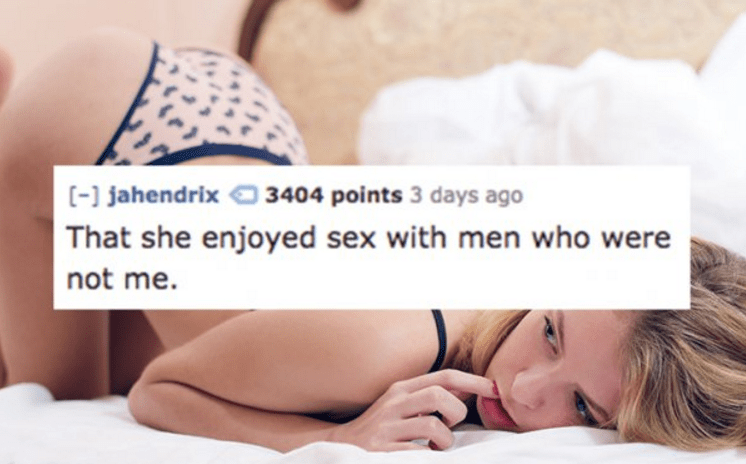 tweet of someone who found it hard to swallow that his girl had sex with other men that she had enjoyed