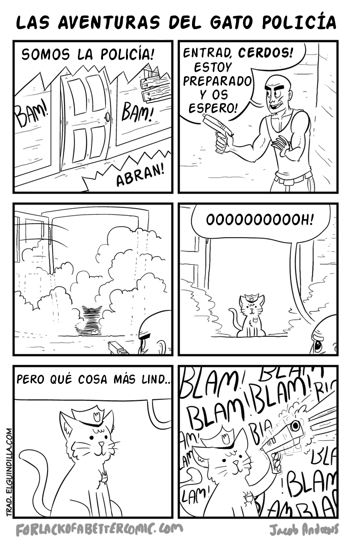 vineta sobre lo que pasaria si un gato es policia