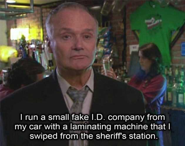 Photo caption - I run a small fake I.D. company from my car with a laminating machine that I swiped from the sheriff's station.