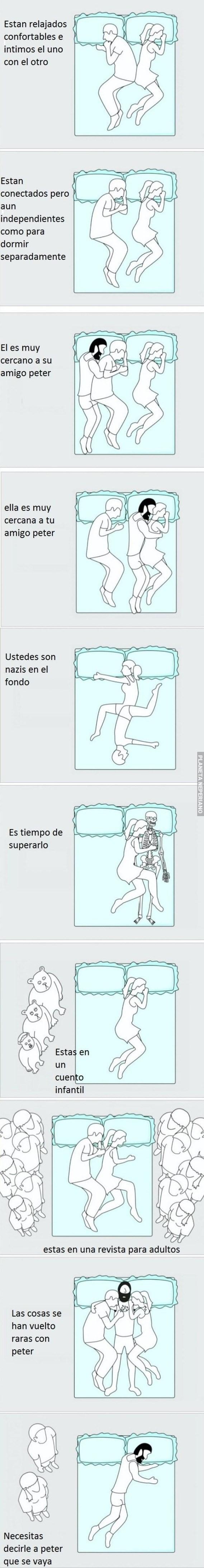 vineta larga sobre como es dormir en pareja