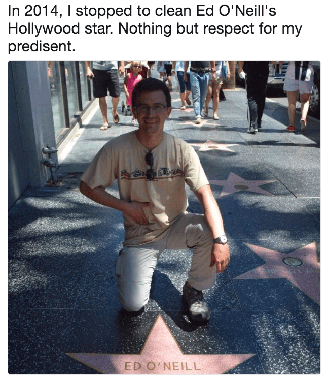 Snapshot - In 2014, I stopped to clean Ed O'Neill's Hollywood star. Nothing but respect for my predisent. ED O NEILL