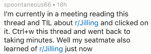 Text - spoontaneous66 18h I'm currently in a meeting reading this thread and TIL about r/Jilling and clicked on it. Ctrl+w this thread and went back to taking minutes. Well my seatmate also learned of r/Jilling just now