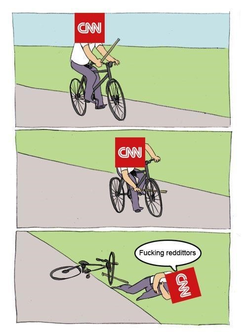 Dank meme of how CNN blames everything on reddit even if they throw a pole into their own bicycle