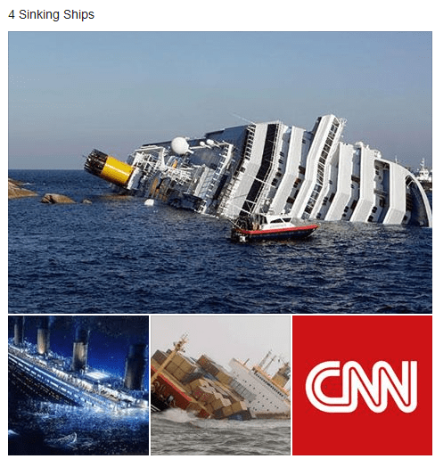 Brutal meme against CNN of montage of sinking ships and one of them is CNN