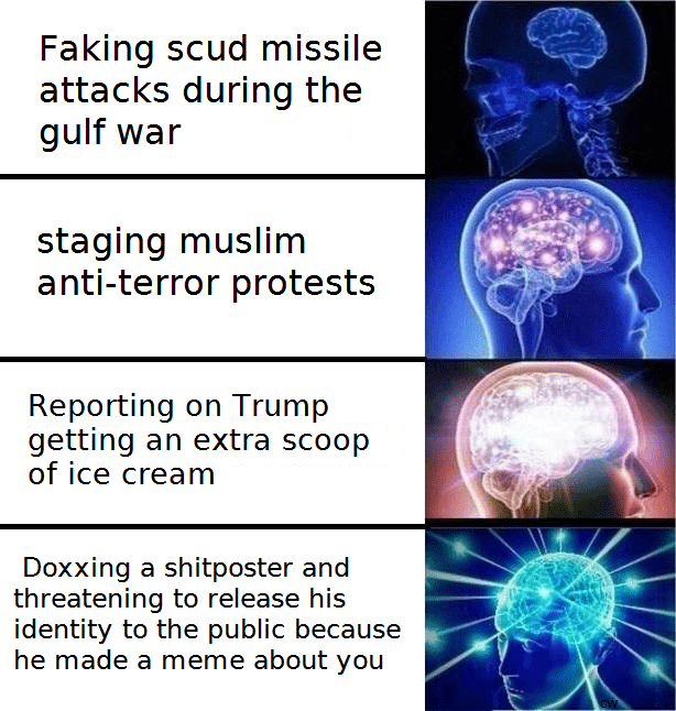 Expanding brain dank meme about CNN using different methods of misdirection.