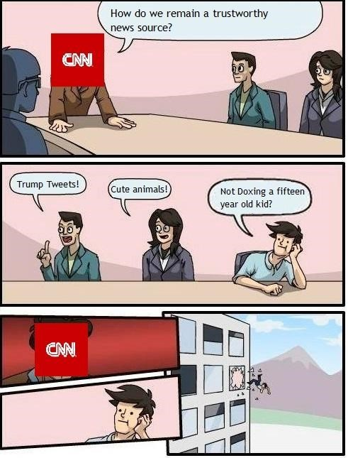 dank meme cartoon about how CNN might going about regaining the publics trust as them for a news source.