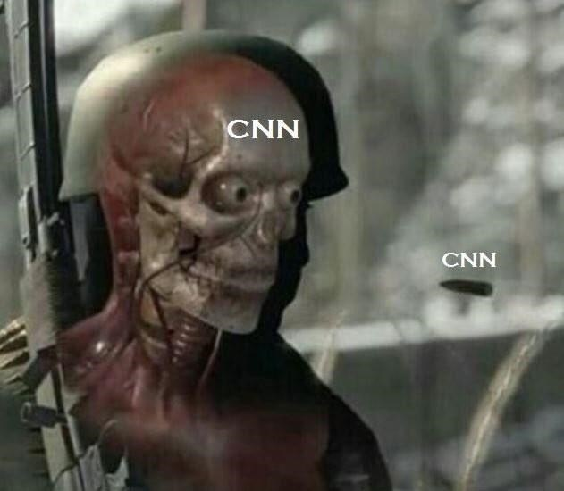 Soldier Skeleton dank meme of CNN being their own bullet that kills them.