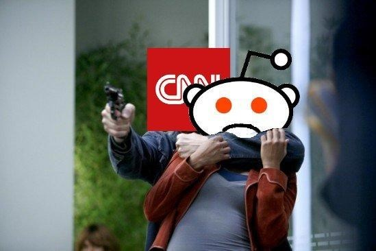 Hostage situation dank meme of CNN taking a sad Reddit as a hostage.