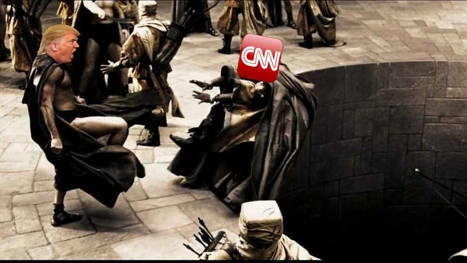 This is Sparta Dank meme of Trump kicking CNN into the pit of death.
