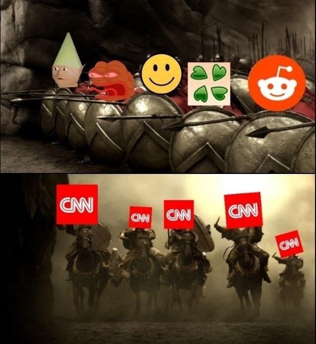 300 meme of dank reddit users against invading army of CNN on horseback.