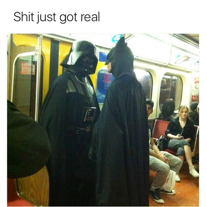 Funny meme of people in Darth Vader and Batman costumes confronting one another in a subway train.