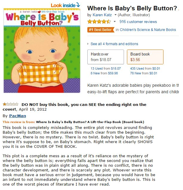Text - Look inside Where Is Baby's Belly Button? by Karen Katz (Author, Illustrator) 916 customer reviews karen katze uf-the-Aap book Where is Baby's Belly Button? # 1 Best Seller in Children's Science & Nature Books See all 4 formats and editions Board book Hardcover from $18.07 $3.56 13 Used from $18.07 435 Used from $0.01 78 New from $0.01 8 New from $59.98 Karen Katz's adorable babies play peekaboo in t easy-to-lift flaps are perfect for parents and childi DO NOT buy this book, you can SEE t