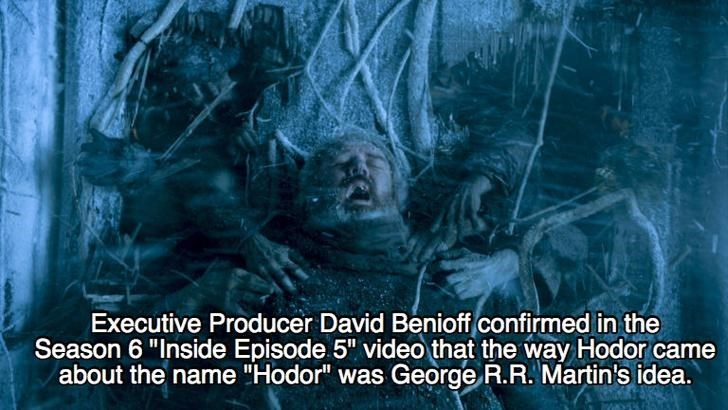 """Organism - Executive Producer David Benioff confirmed in the Season 6 """"Inside Episode 5"""" video that the way Hodor came about the name """"Hodor"""" was George R.R. Martin's idea."""