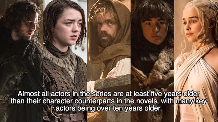 Human - Almost all actors in the series are at least five years older than their character counterparts in the novels, with many key actors being over ten years older.
