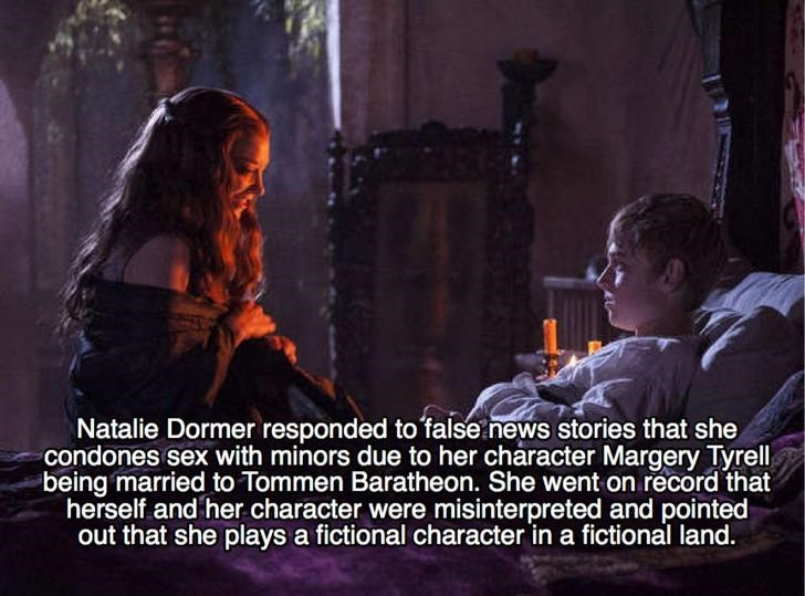 Photo caption - Natalie Dormer responded to false news stories that she condones sex with minors due to her character Margery Tyrell being married to Tommen Baratheon. She went on record that herself and her character were misinterpreted and pointed out that she plays a fictional character in a fictional land.