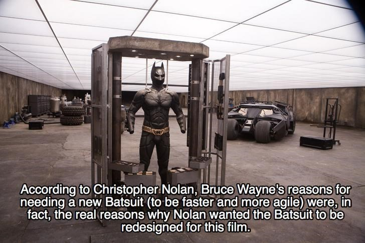 Tire - According Christopher Nolan, Bruce Wayne's reasons for needing a new Batsuit (to be faster and more agile) were, in fact, the real reasons why Nolan wanted the Batsuit to be redesigned for this film.