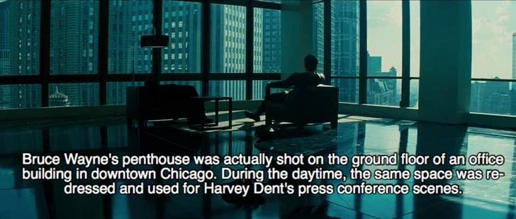 Architecture - Bruce Wayne's penthouse was actually shot on the ground floor of an office building in downtown Chicago. During the daytime, the same space was re dressed and used for Harvey Dent's press conference scenes.