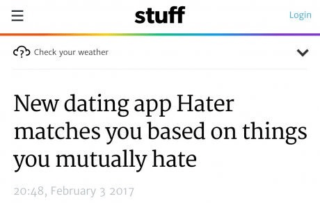 Funny picture of a dating app called hater which pairs people with other people that hate the same things.
