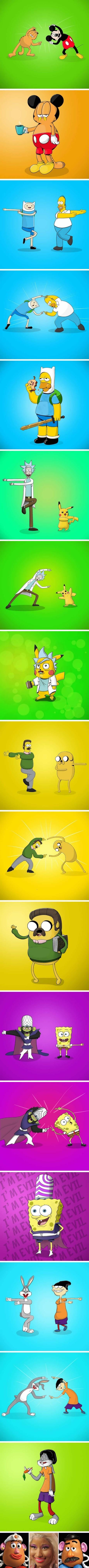 vineta de fusion de dos caricaturas
