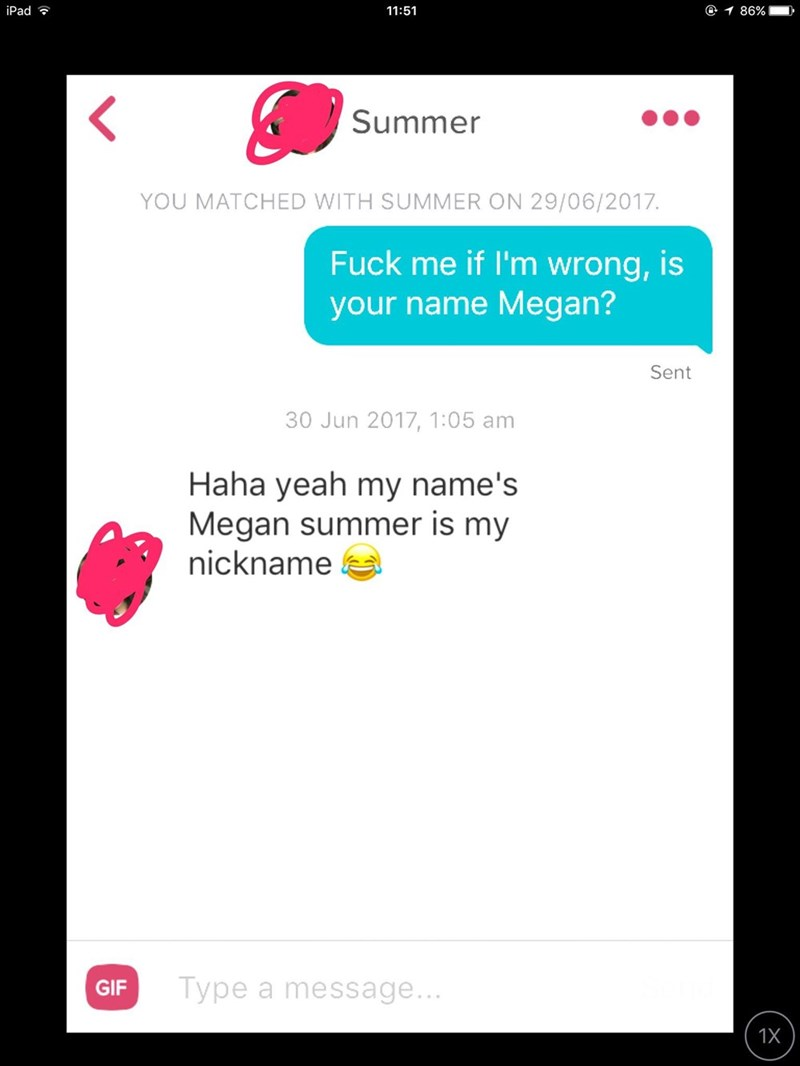 tinder - Text - iPad 11:51 1 86% Summer YOU MATCHED WITH SUMMER ON 29/06/2017. Fuck me if I'm wrong, is your name Megan? Sent 30 Jun 2017, 1:05 am Haha yeah my name's Megan summer is my nickname Type a message... GIF 1X