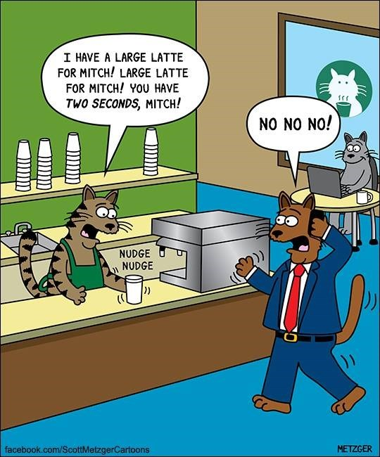 Cat version of Starbucks and the barista can't help but nudge the cup toward the edge.