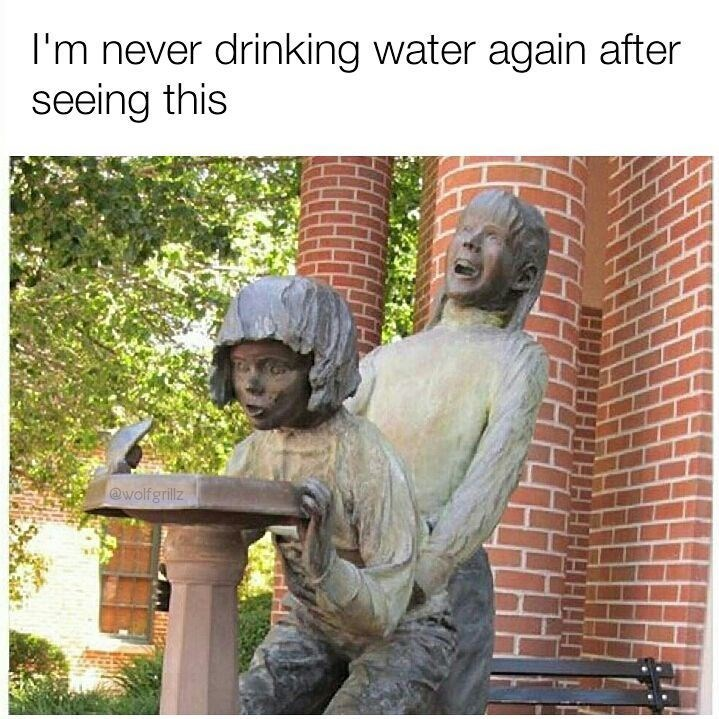 Funyn meme about a horrifying statue where it looks like two kids are humping each other in front of a water fountain.
