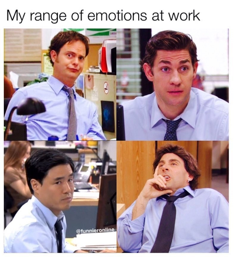Funny meme about peples moods at work featuring characters from the office who all look unhappy.