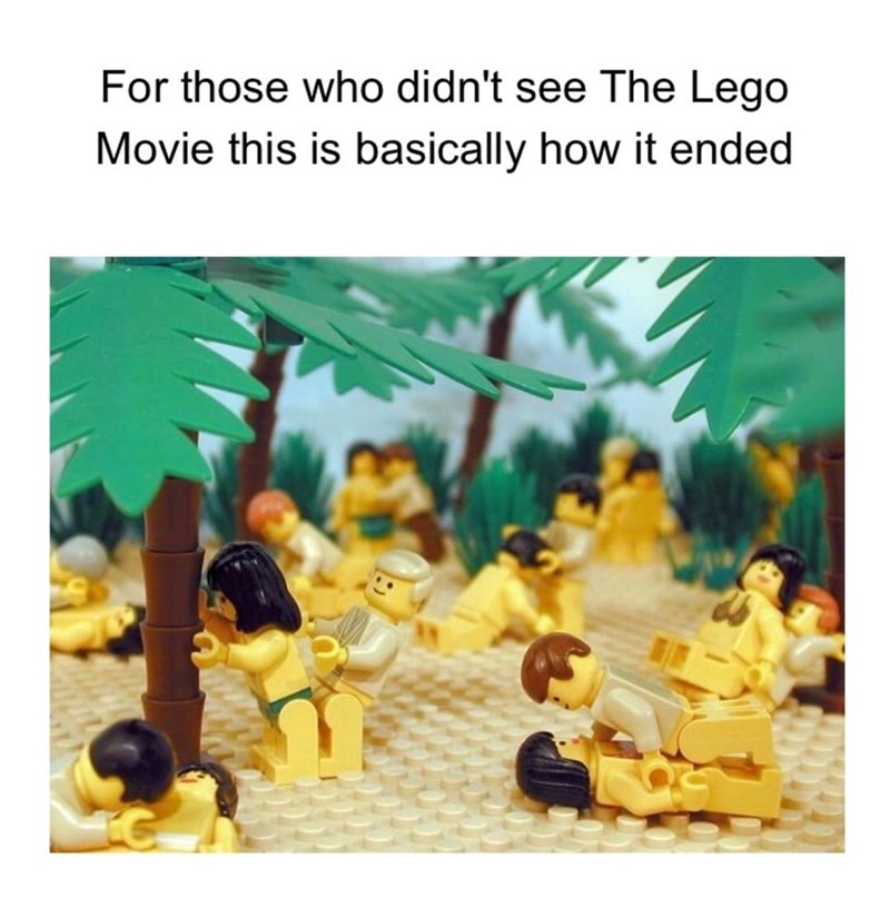 Meme that seems to imply the Lego movie ended with everyone at some kind of orgy in a fake forest.
