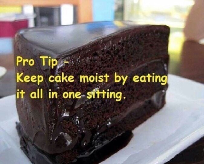 Pro Tip about keeping chocolate cake moist by eating it all in one sitting.