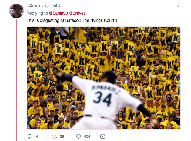 "Yellow - .@mcluve_ Jul 4 Replying to @Sania90 @Braves This is disgusting at Safeco! The ""Kings Kourt""! к Fun dh KK 34 t28 634 st"