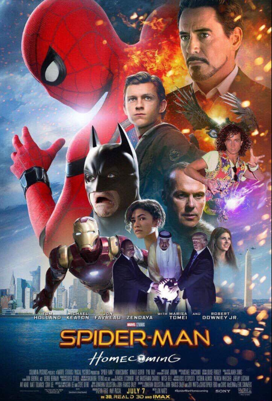 Movie - gHAEL JON TUM HOLLAND KEATON FAVREAU ZENDAYA WITH MARISA ROBERT AND TOME DOWNEY JR. M STOS SPIDER-MAN HomE MECOminG HE A PAL JULY 7 8piderMonomsooming SONY IN 30, REAL D 3D AND IMAX