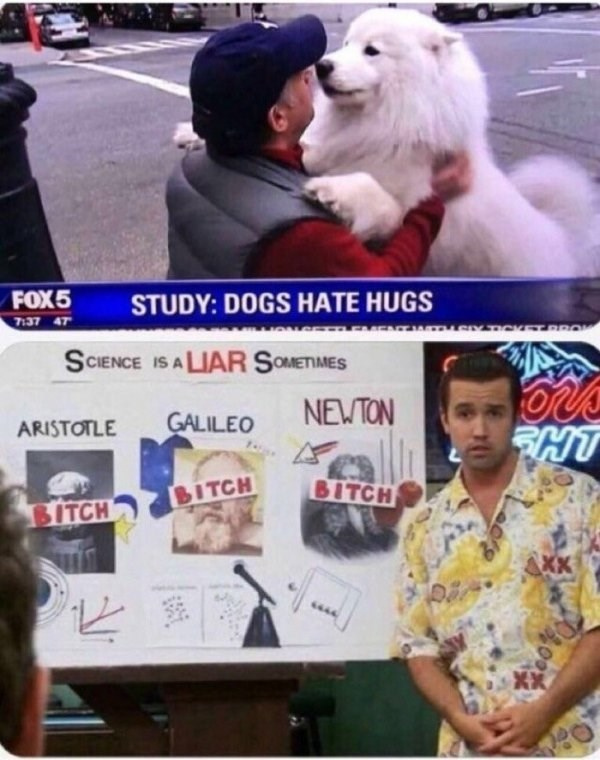 funny meme about losing faith in science when it claims dogs don't like hugs with pic of Mac from Always Sunny