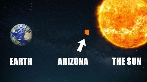 funny meme about life in Arizona being hotter than the rest of earth with pic on it in orbit around the sun