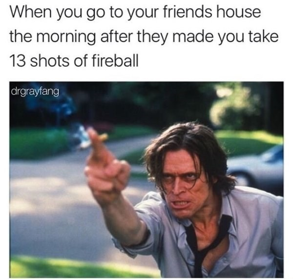 funny meme about life blaming your friend for getting you drunk with pic of Willem Dafoe pointing