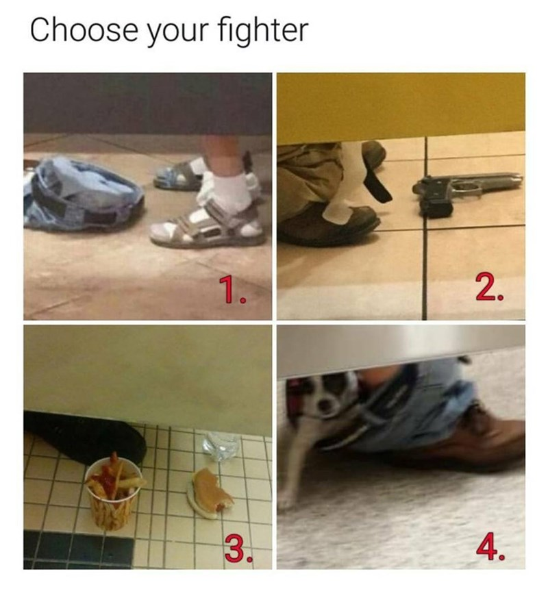 Funny choose your fighter meme featuring people in the bathroom with different objects on the floor, including a gun, a dog, and some french fries and a hot dog.