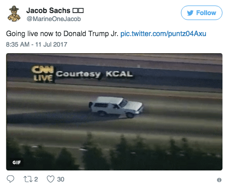 Vehicle - Jacob Sachs 0 Follow @MarineOneJacob Going live now to Donald Trump Jr. pic.twitter.com/puntz04Axu 8:35 AM -11 Jul 2017 CHNCOurtesy KCAL LIVE GIF t2 30
