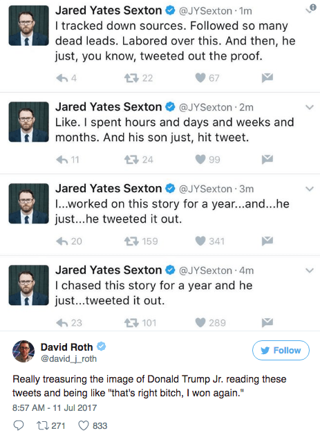 Text - Jared Yates Sexton@JYSexton 1m I tracked down sources. Followed so many dead leads. Labored over this. And then, he just, you know, tweeted out the proof. 3 22 4 67 Jared Yates Sexton @JYSexton 2m Like. I spent hours and days and weeks and months. And his son just, hit tweet. 24 11 99 Jared Yates Sexton @JYSexton 3m ..worked on this story for a year...and...he just...he tweeted it out. 母159 20 341 Jared Yates Sexton@JYSexton 4m I chased this story for a year and he just...tweeted it out 구