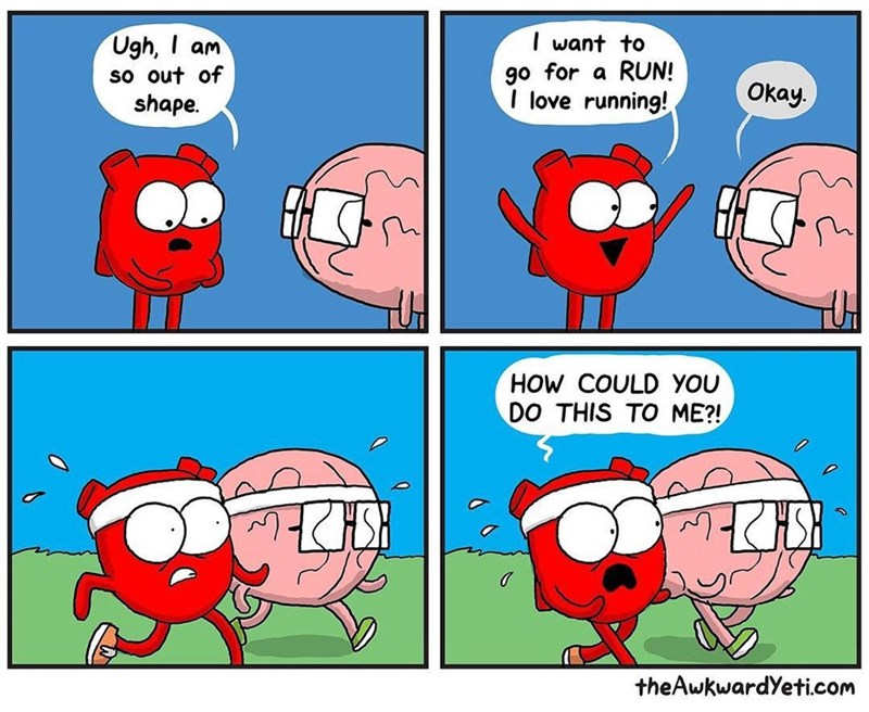 Funny web comic about heart and brain regarding not liking exercise.