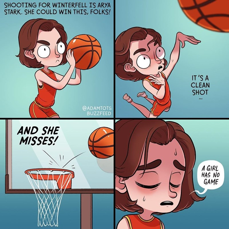 Funny web comic about Arya Stark from Game of Thrones (Maisie williams) playing basketball.