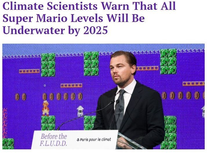 Funny headline about climate change on the hard times about all super mario levels being under water.