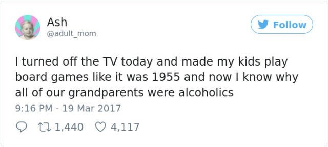 Tweet of someone who got their kids to play board games finally