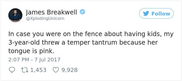 Text - James Breakwell @XplodingUnicorn Follow In case you were on the fence about having kids, my 3-year-old threw a temper tantrum because her tongue is pink 2:07 PM 7 Jul 2017 t 1,453 9,928