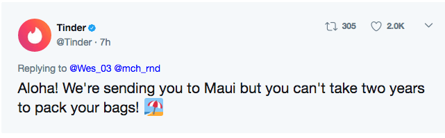 Tinder sending them to Maui in their tweet.