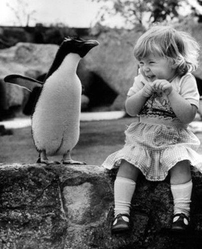 Little girl excited to speak with a penguin,