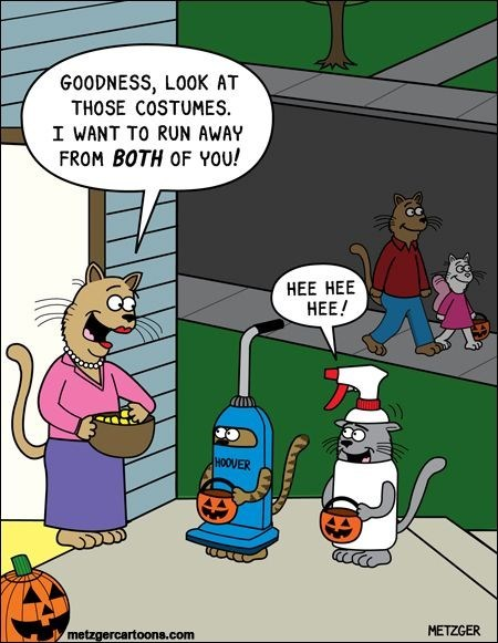 Scott Metzger cartoon of Halloween cats