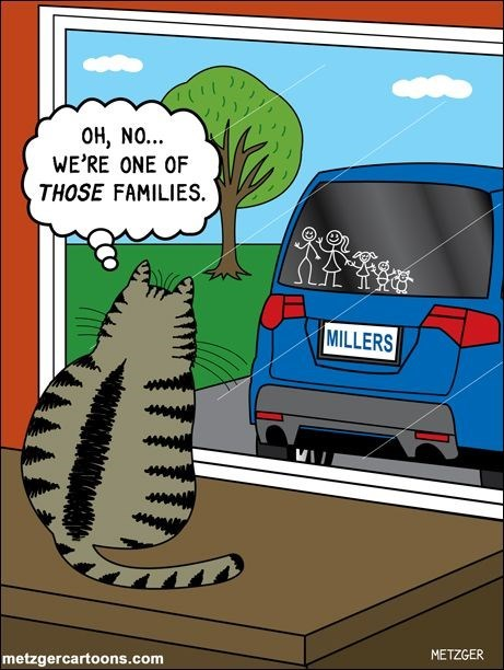 Scott Metzger cartoon of cat realizing the kind of family he is in.