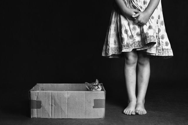 Girl with a box and OH it has a kitten inside.